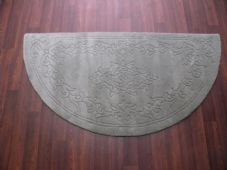 HALF MOON 100% WOOL RUGS NEW SUPER THICK PILE 67CMX137CM LIGHT GREEN LOVLEY RUGS